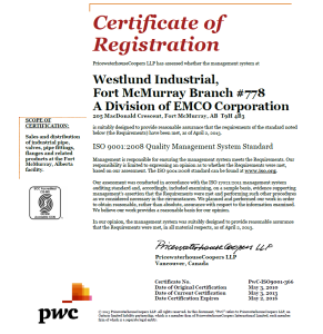 ISO 9001 cert for Ft. Mac